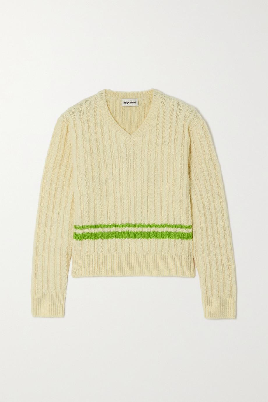 Molly Goddard Pull en laine à mailles torsadées et à rayures Diana