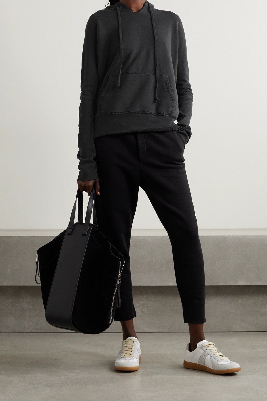 Nili Lotan Janie distressed cotton-jersey hoodie