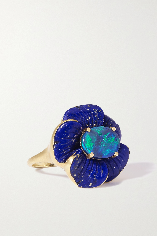 Irene Neuwirth Tropical Flower 18-karat gold, lapis lazuli and opal ring