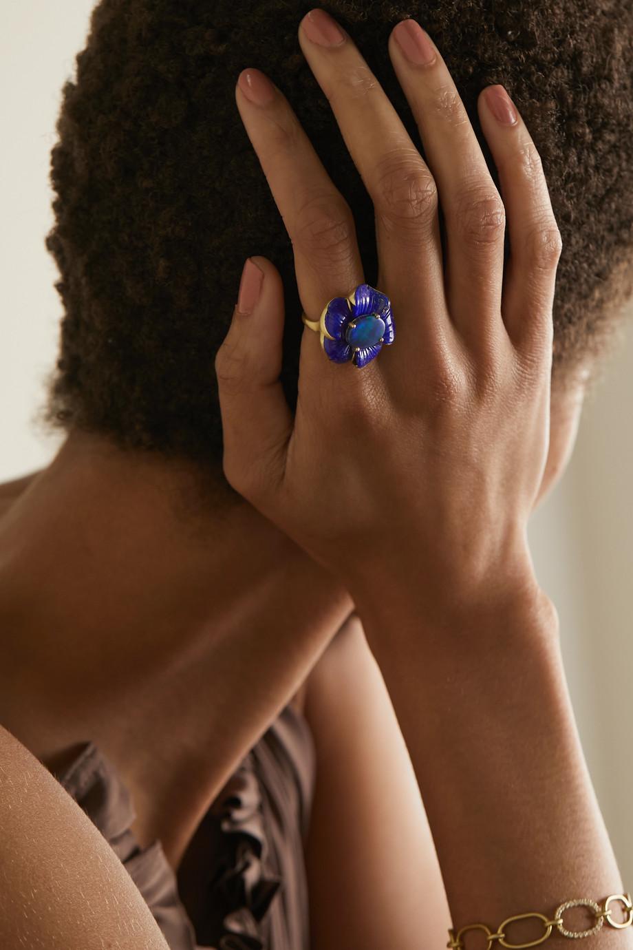 Irene Neuwirth Bague en or 18 carats, lapis-lazuli et opale Tropical Flower