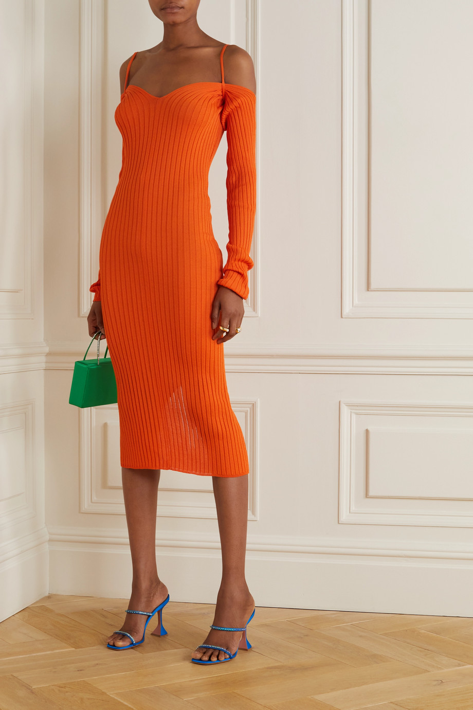 ioannes Billowy cold-shoulder ribbed-knit midi dress