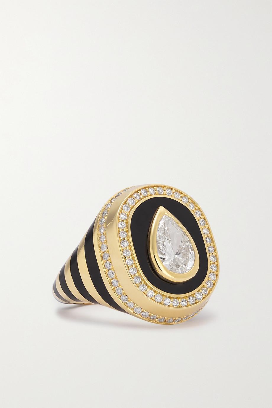 State Property Baret 18-karat gold, enamel and diamond signet ring
