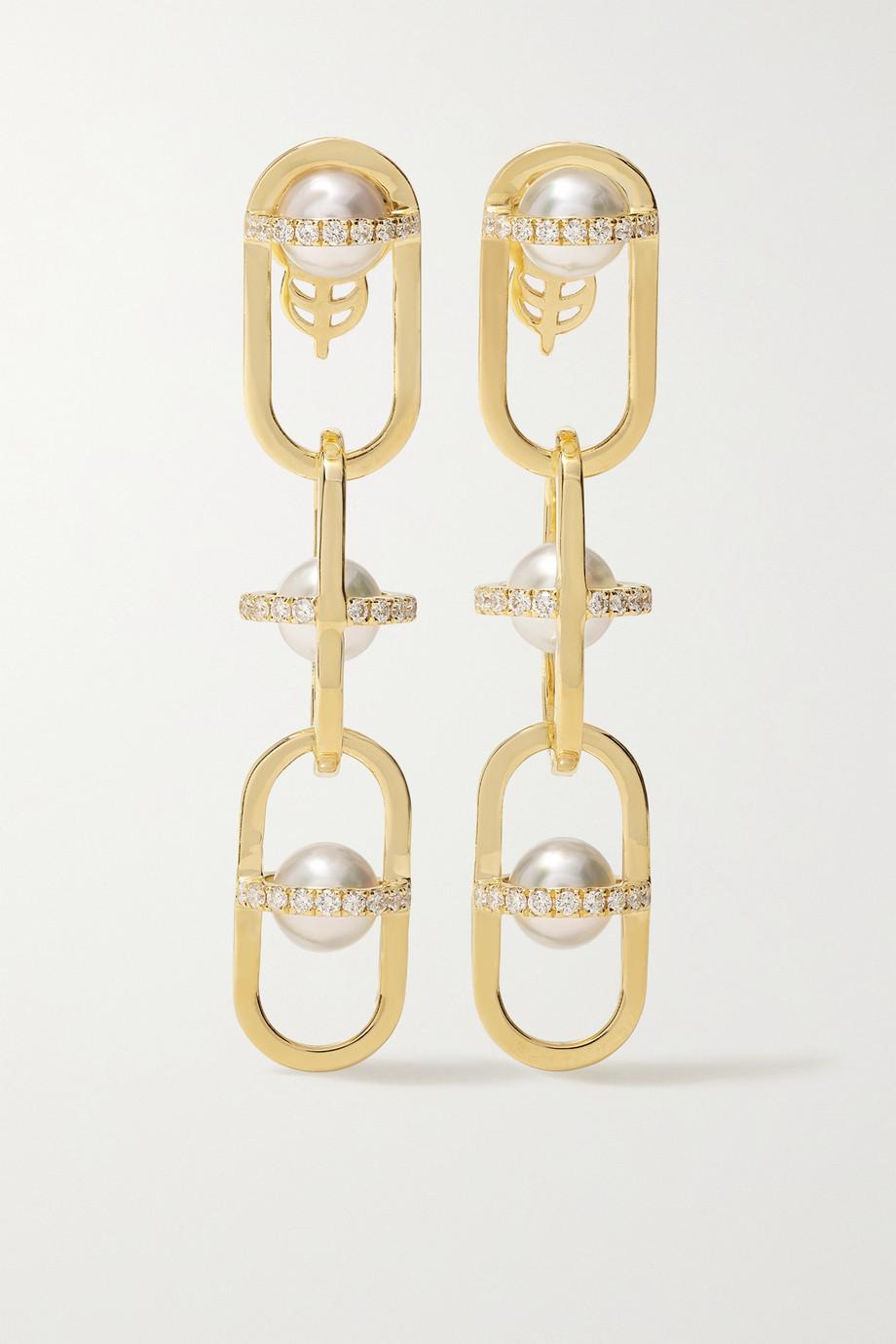 State Property Allegory Major Ohrringe aus 18 Karat Gold mit Perlen und Diamanten