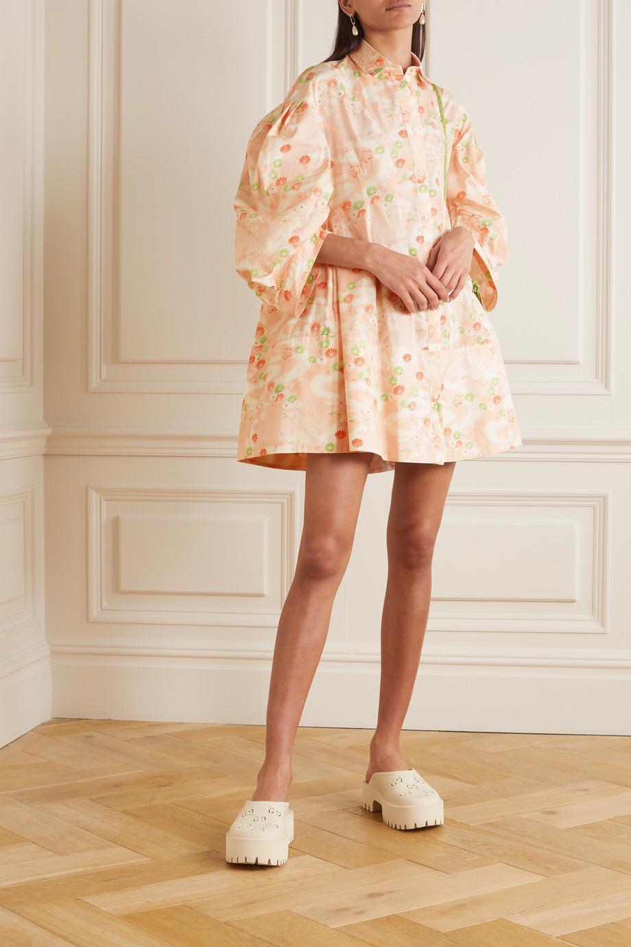 Simone Rocha Gathered paneled floral-print cotton shirt dress