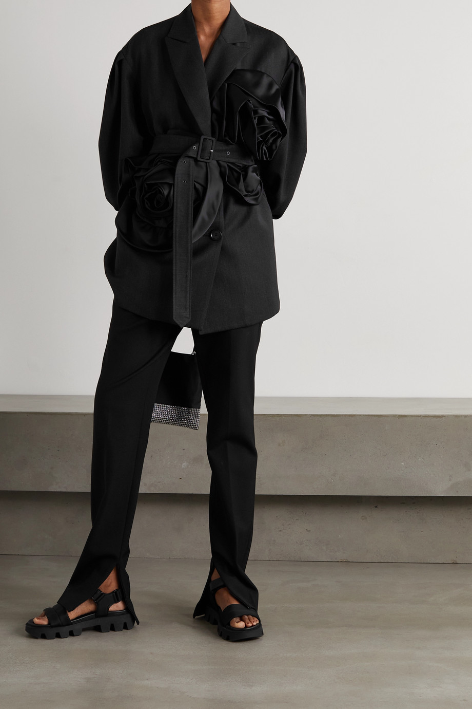 Simone Rocha Belted satin-trimmed woven jacket