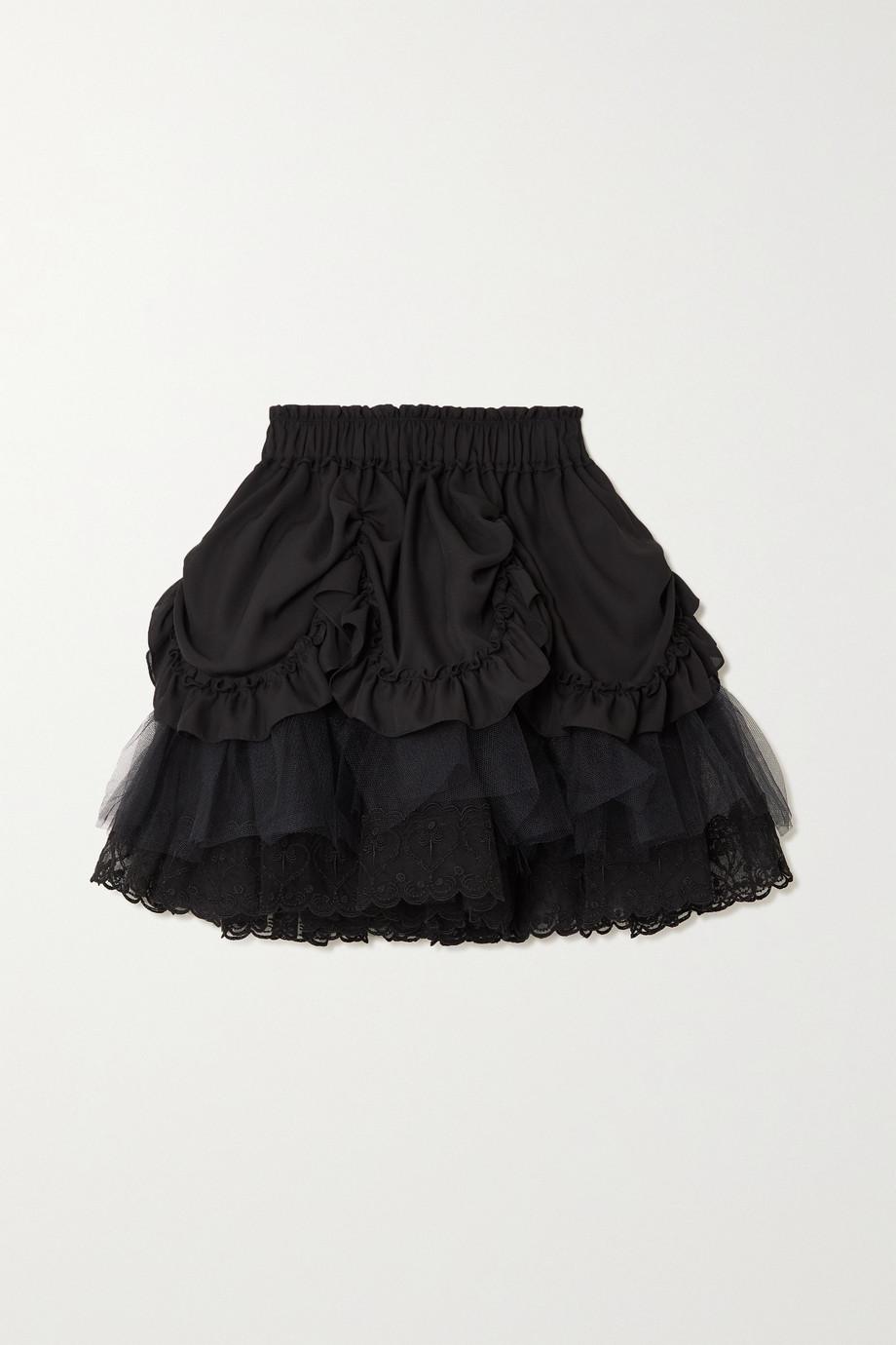 Simone Rocha Mini-jupe en tulle et en crêpe à broderies et à volants