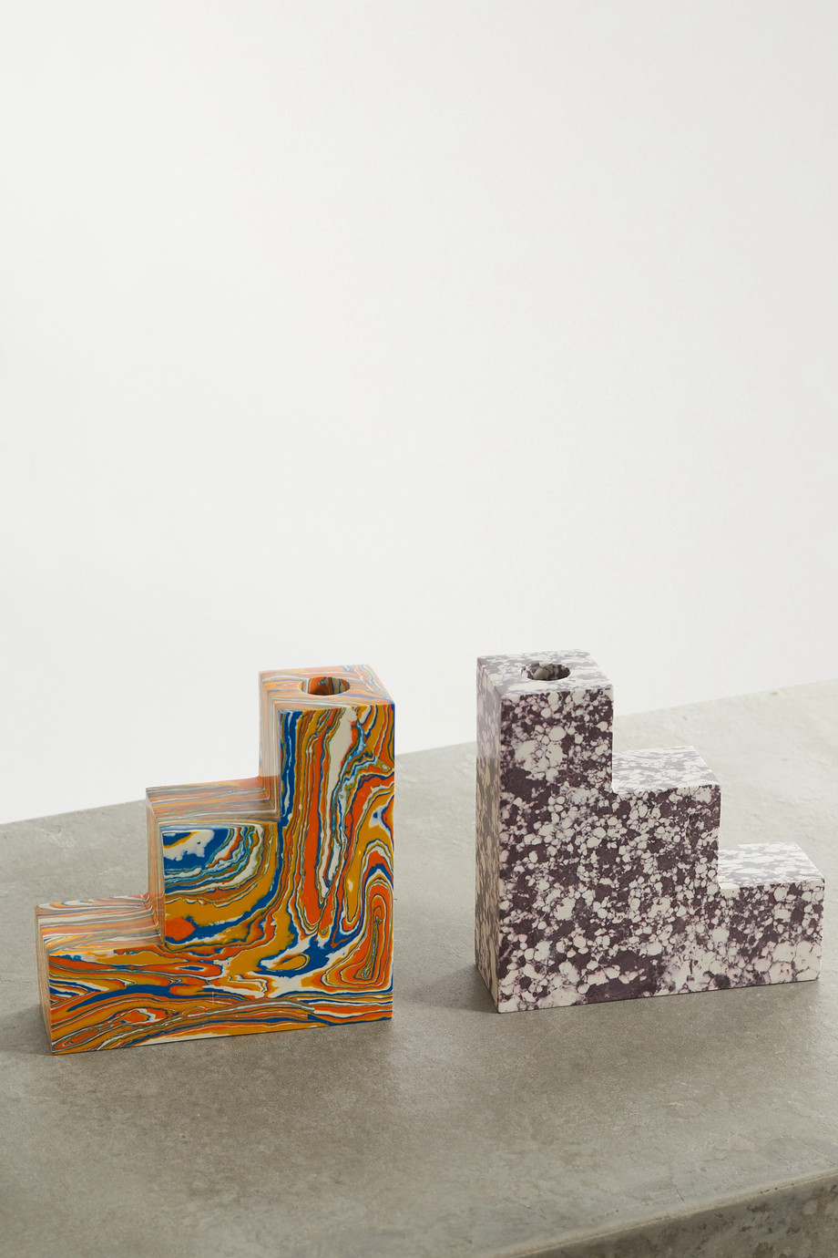 Tom Dixon Swirl Stepped recycled marble bookends