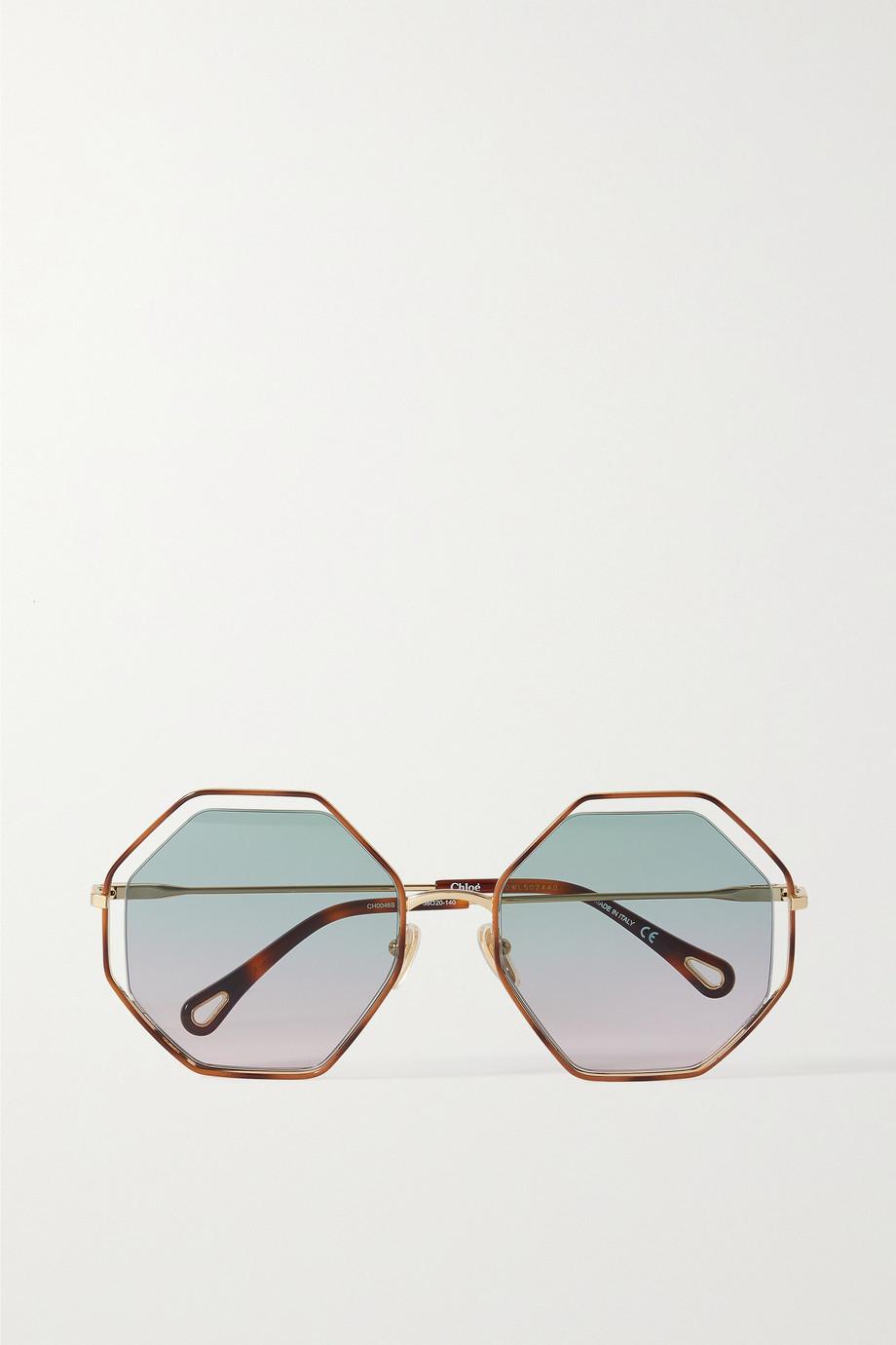 Chloé Poppy goldfarbene Sonnenbrille mit achteckigem Rahmen