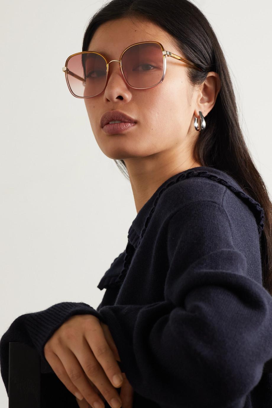 Chloé Franky goldfarbene Sonnenbrille mit eckigem Rahmen und Details aus Azetat