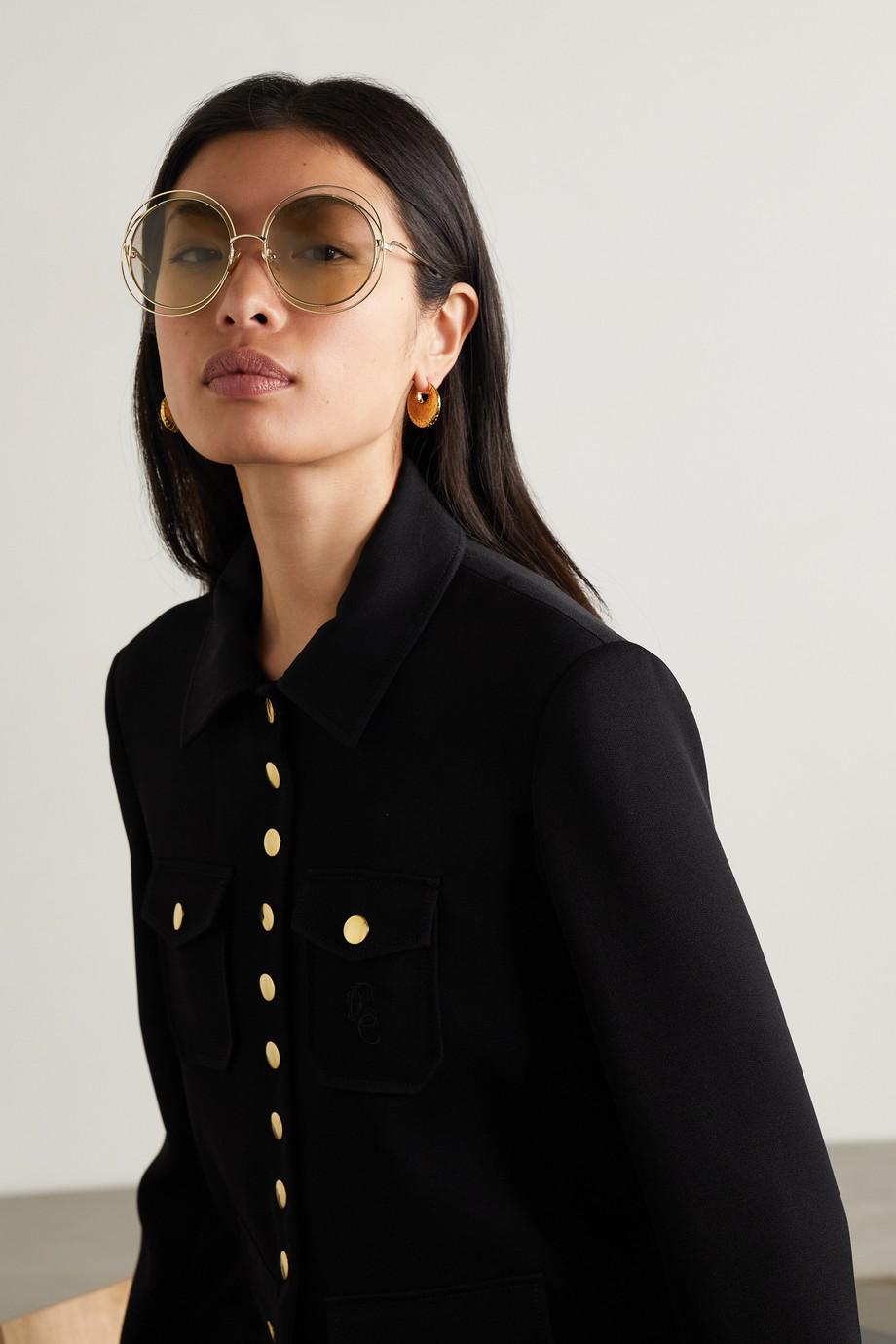 Chloé Carlina goldfarbene Oversized-Sonnenbrille mit rundem Rahmen