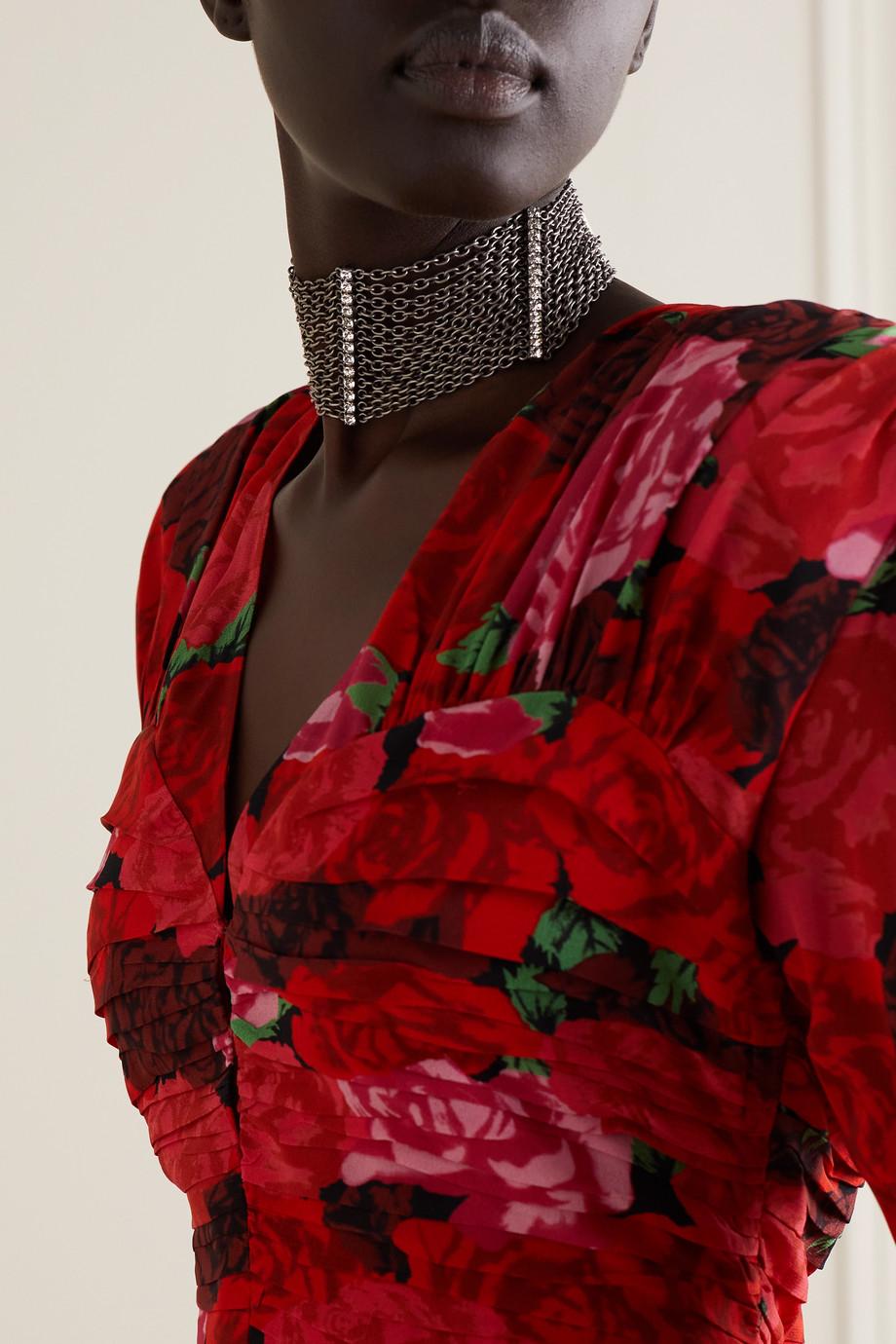 Alessandra Rich Silberfarbener Choker mit Kristallen