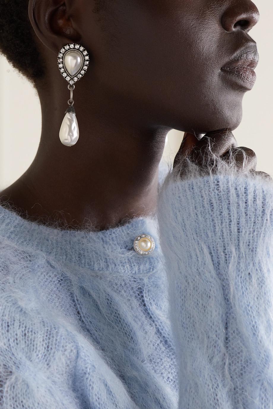 Alessandra Rich Boucles d'oreilles clip en métal argenté, perles synthétiques et cristaux