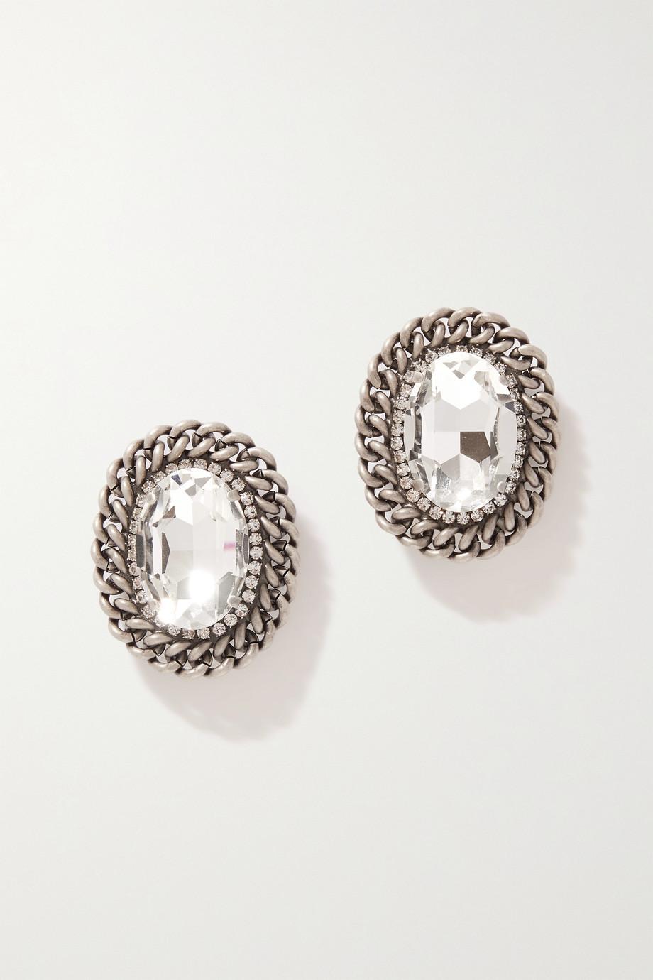 Alessandra Rich Silberfarbene Ohrclips mit Kristallen