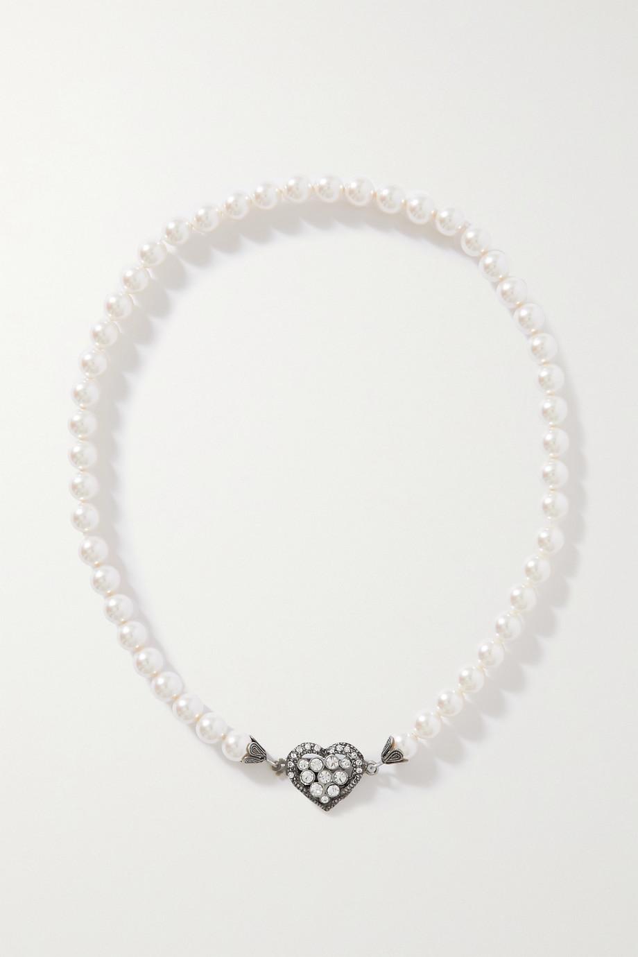 Alessandra Rich Collier en métal argenté, perles synthétiques et cristaux