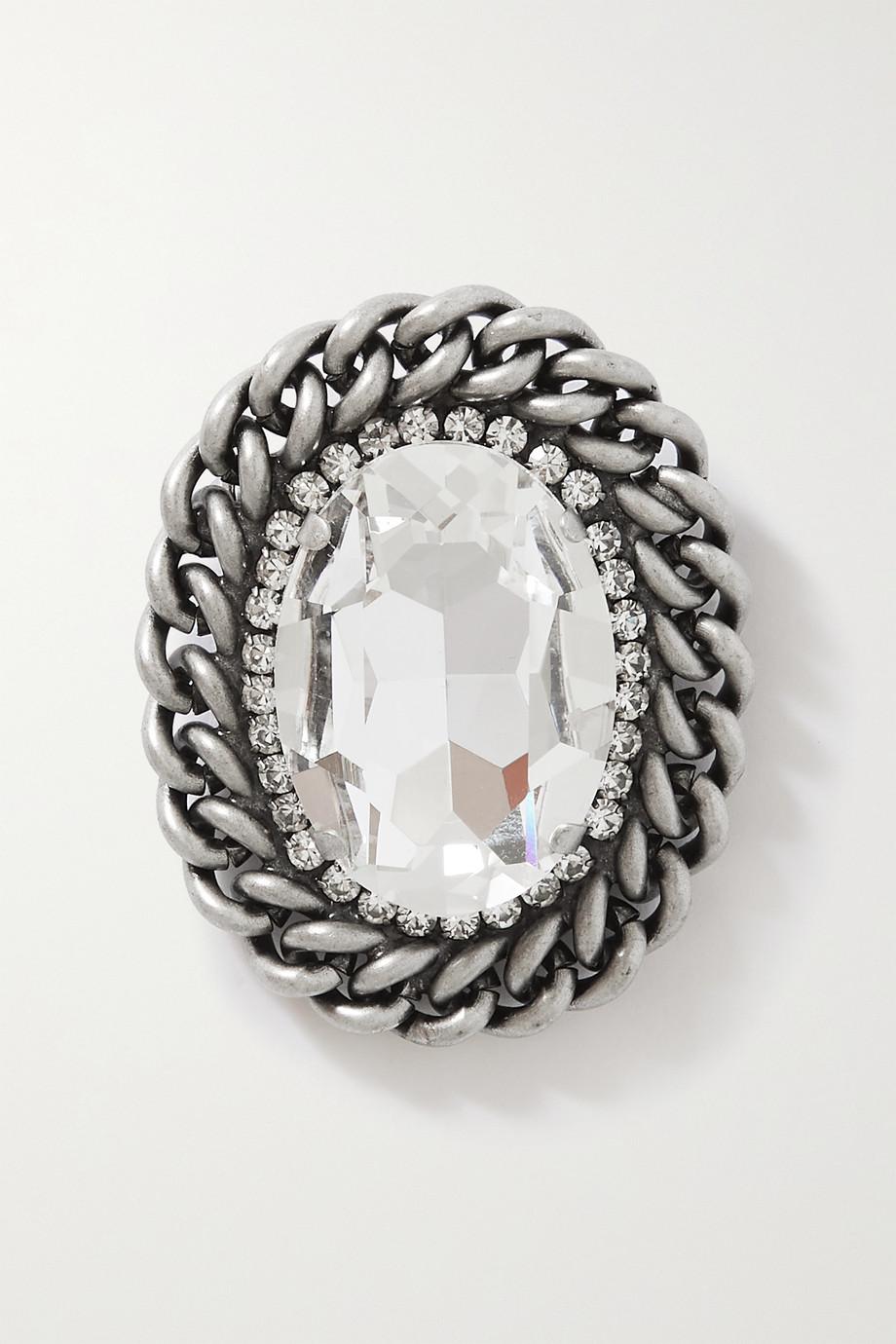 Alessandra Rich Silberfarbene Brosche mit Kristallen