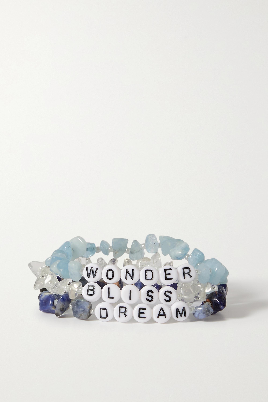 TBalance Crystals Set de trois bracelets en pierres multiples et émail