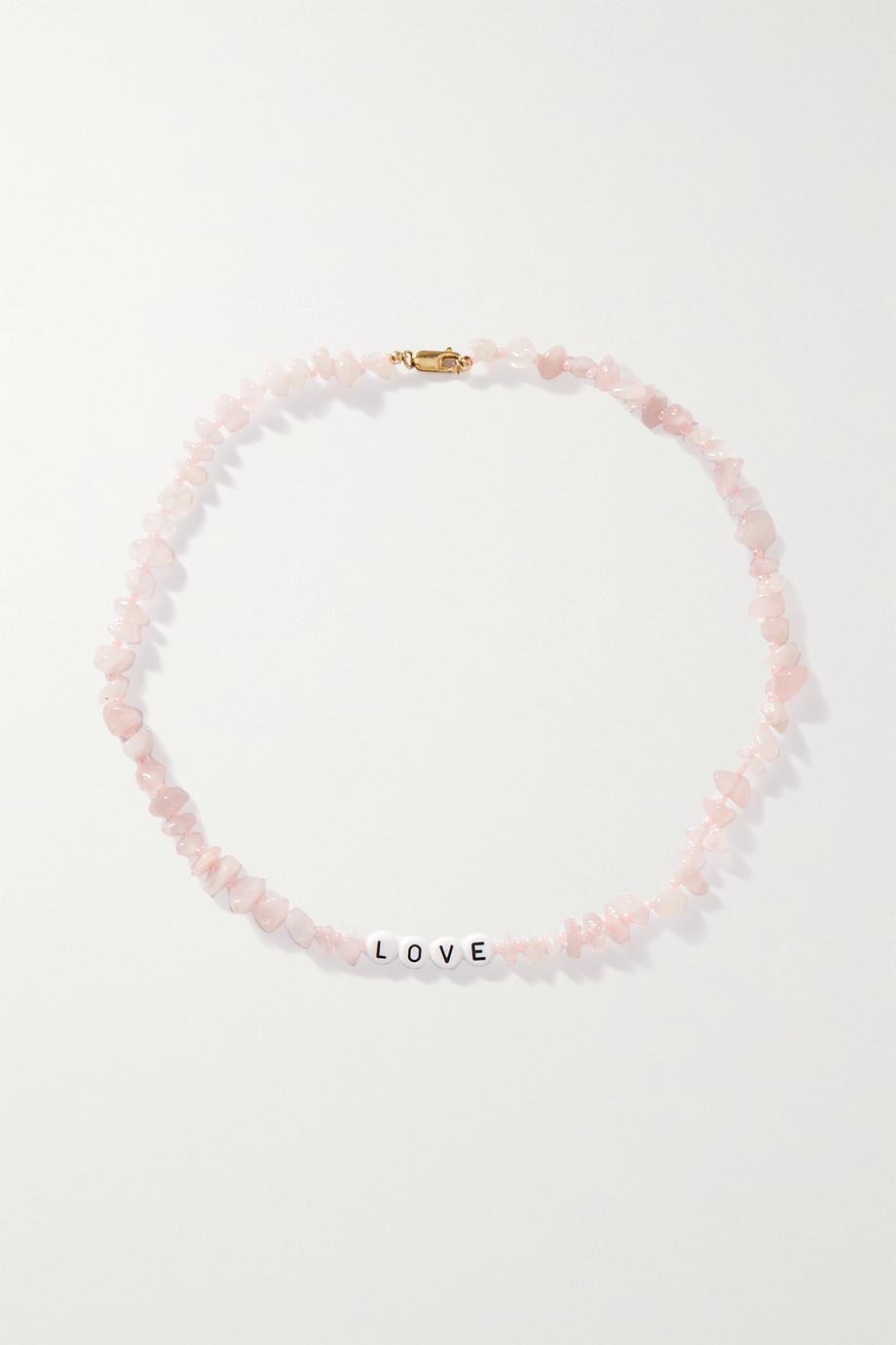 TBalance Crystals Collier en quartz rose et émail