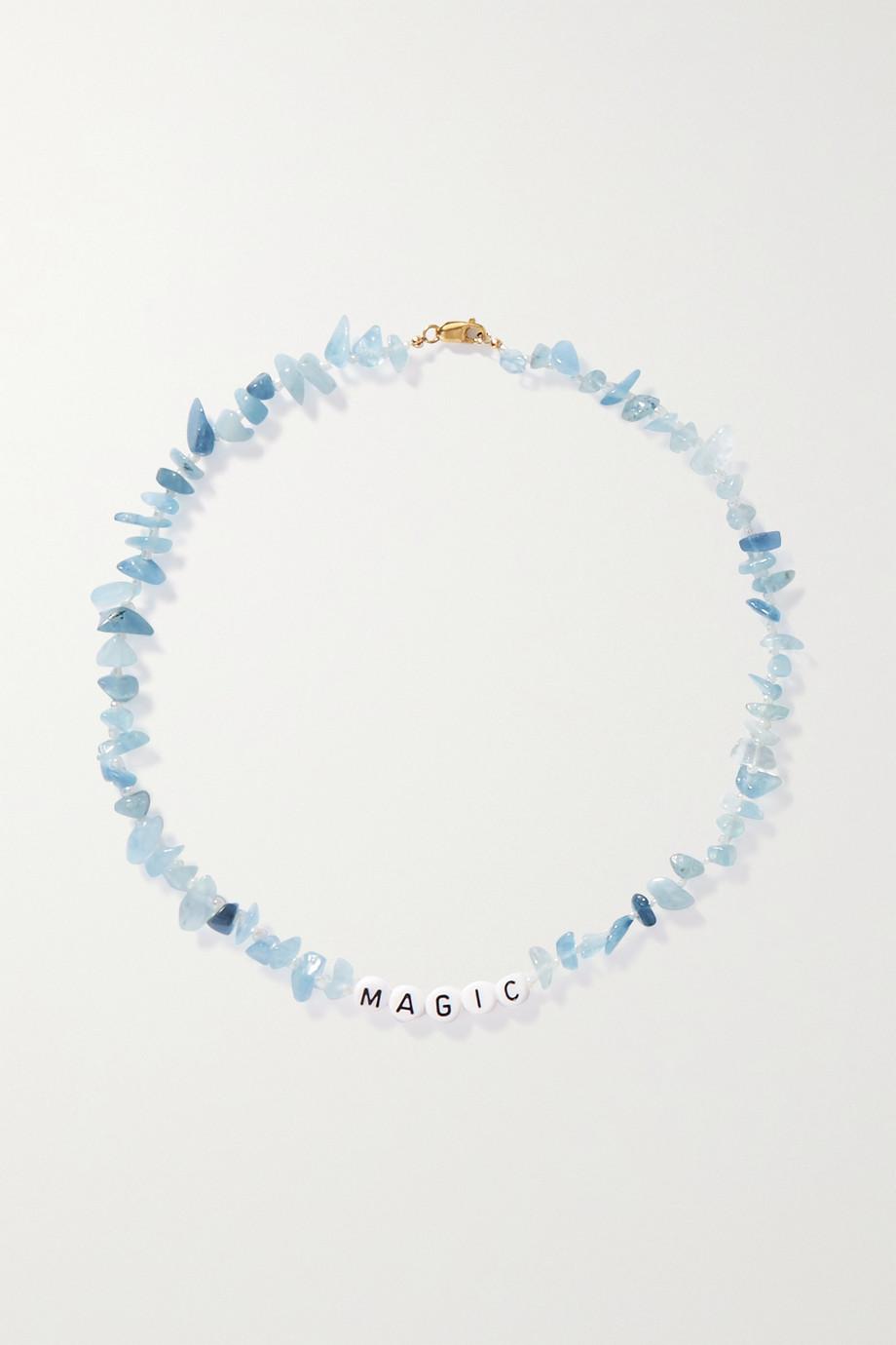 TBalance Crystals Magic Kette mit Aquamarinen, Emaille und Details aus Gold