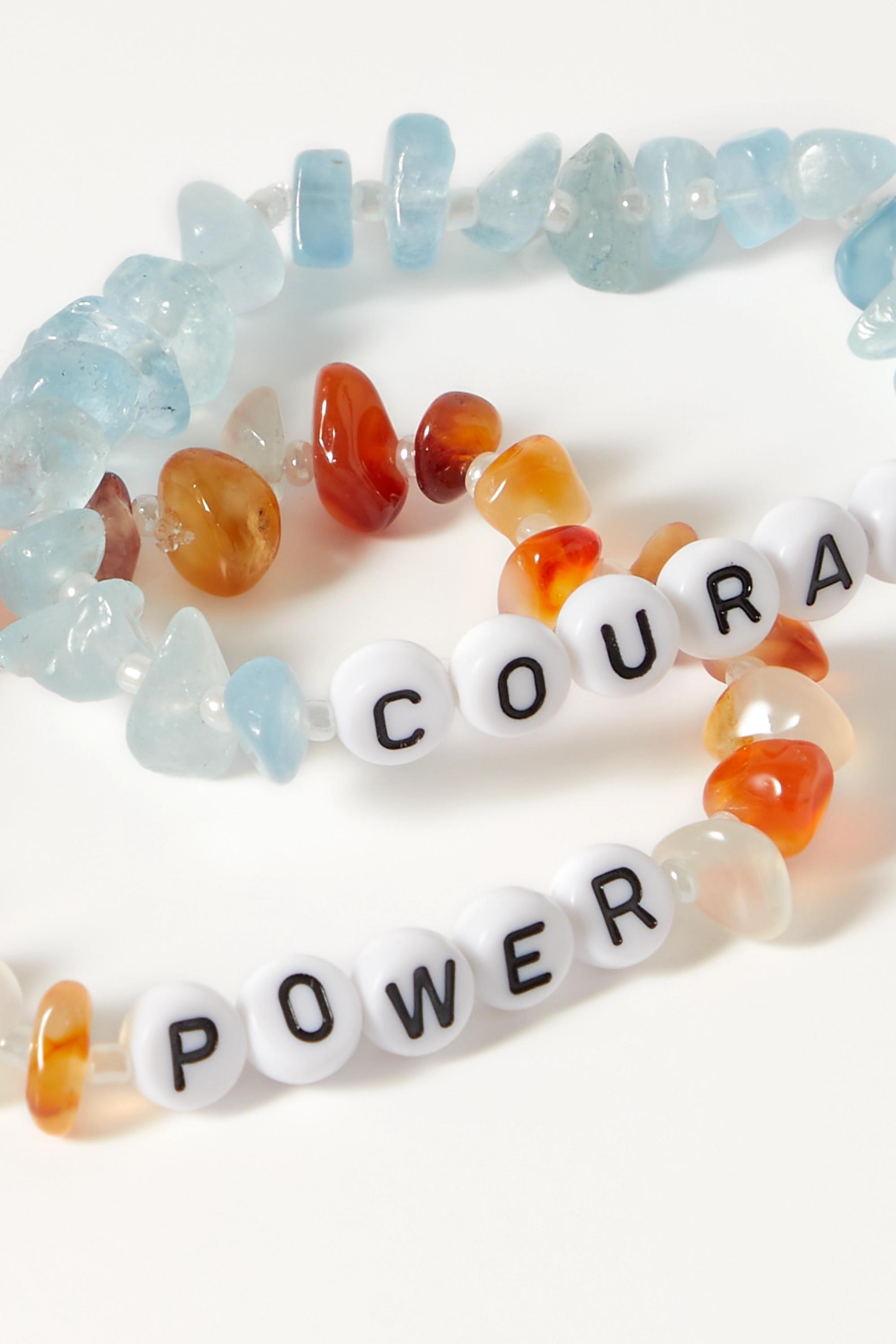 TBalance Crystals Set de deux bracelets en cornalines, aigues-marines et émail