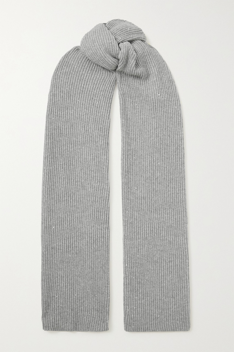 Brunello Cucinelli Sequin-embellished metallic ribbed-knit scarf
