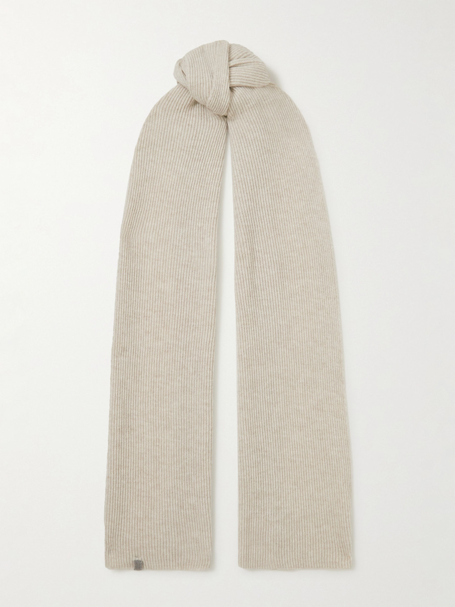 Brunello Cucinelli Bead-embellished ribbed cashmere scarf