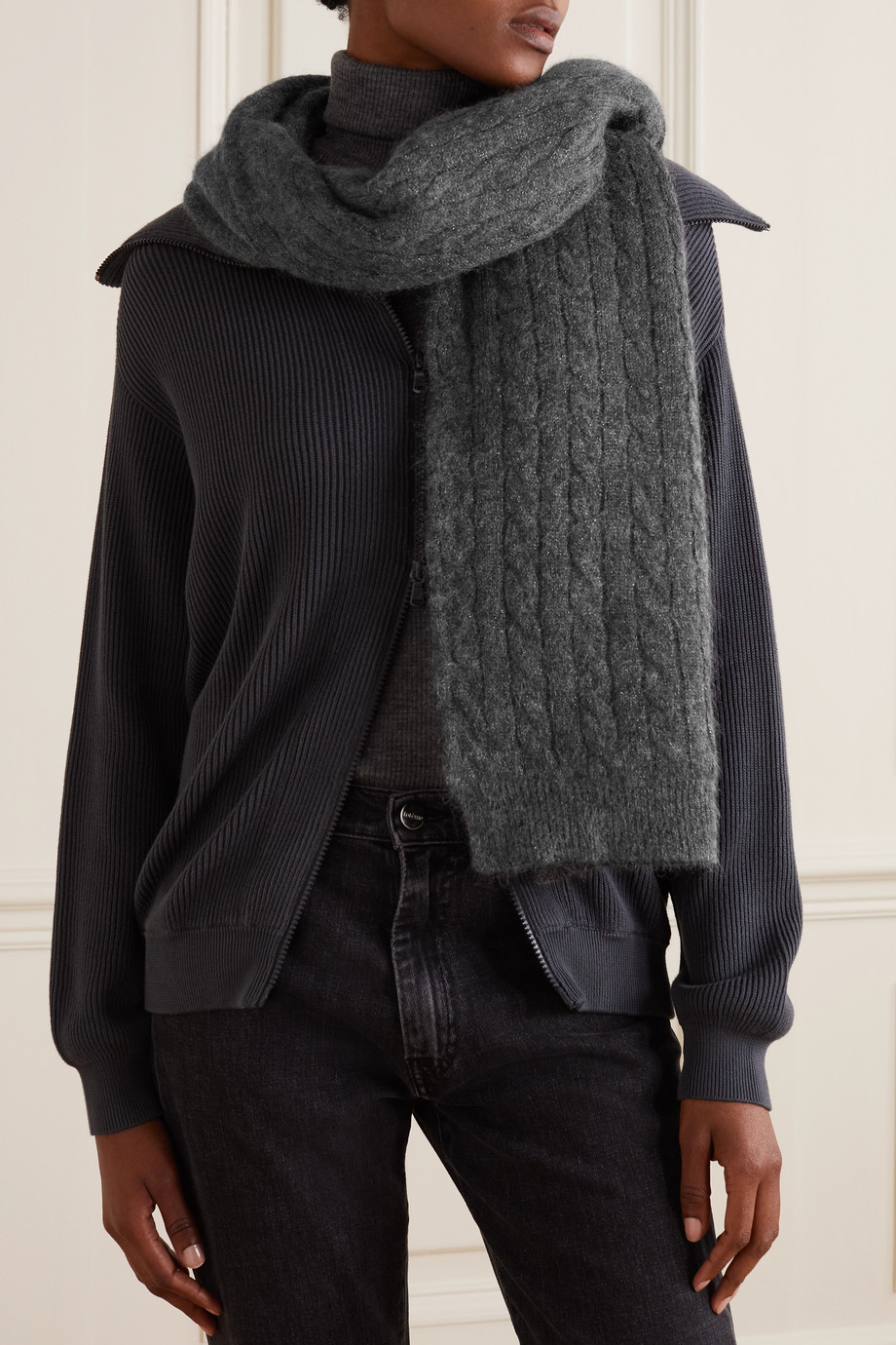 Brunello Cucinelli Bead-embellished metallic cable-knit scarf