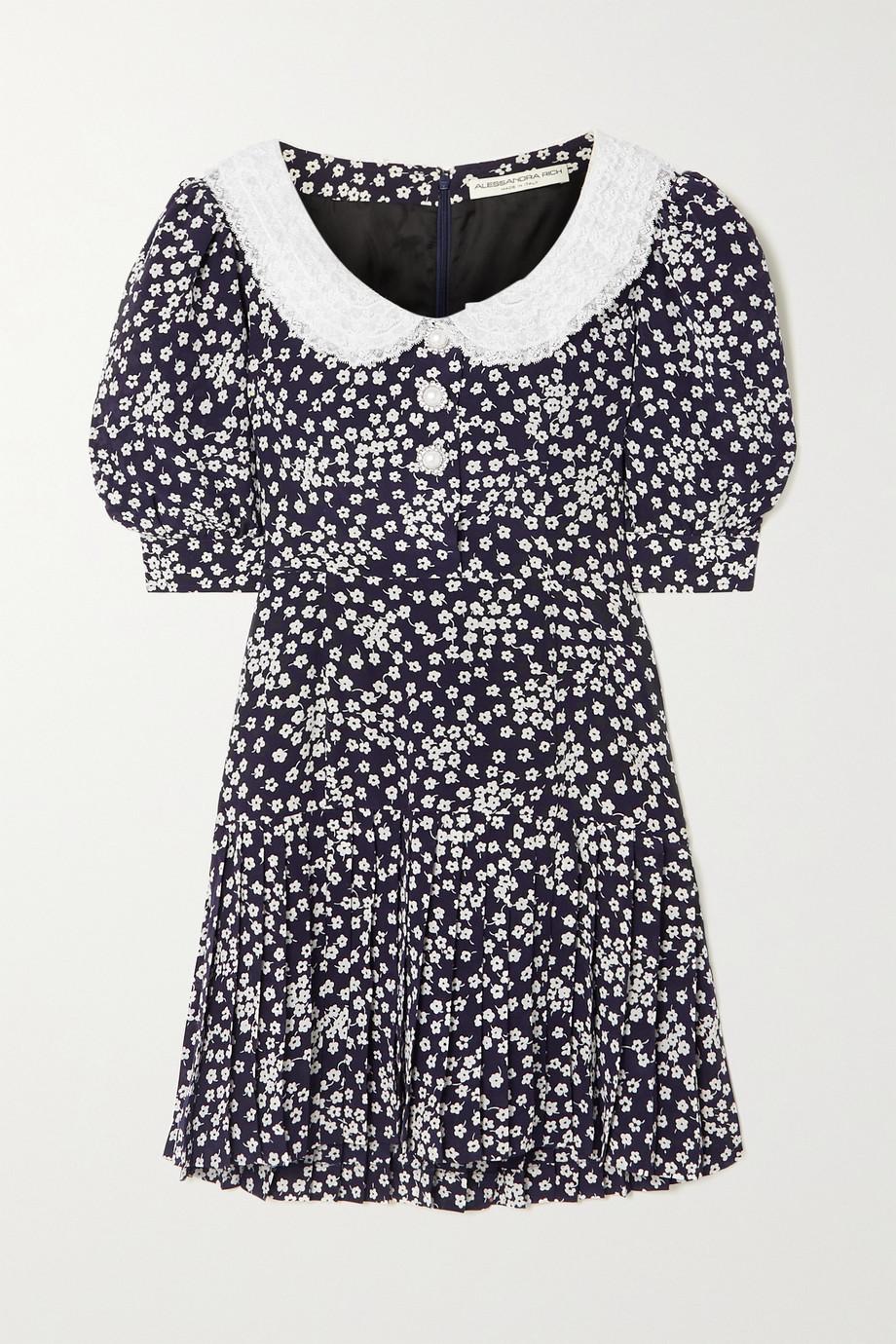 Alessandra Rich Mini-robe en crêpe de Chine de soie à imprimé fleuri et à finitions en dentelle