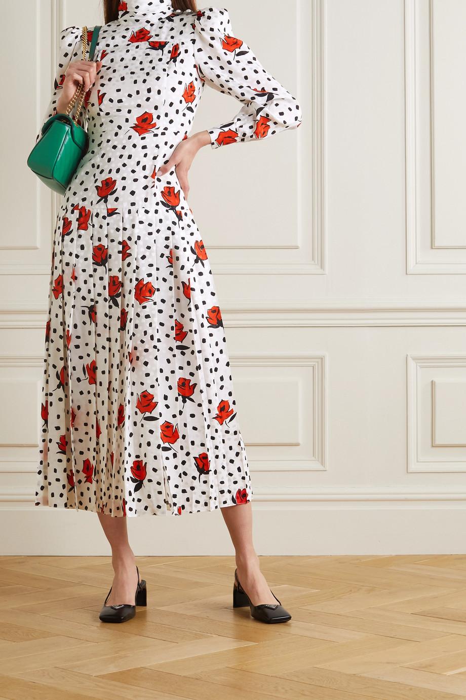 Alessandra Rich Robe midi en jacquard de soie imprimé à plis