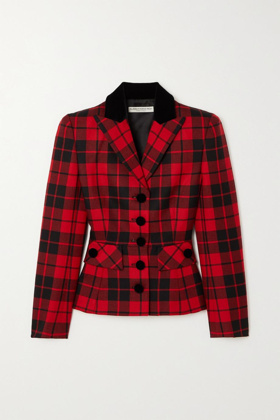 Alessandra Rich Blazer en laine à carreaux et à finitions en velours