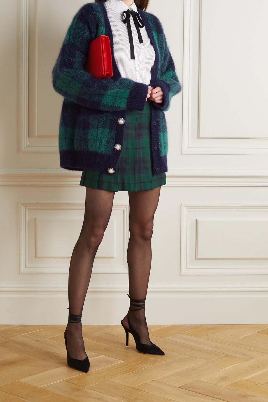 Alessandra Rich Cardigan en mohair mélangé brossé à carreaux