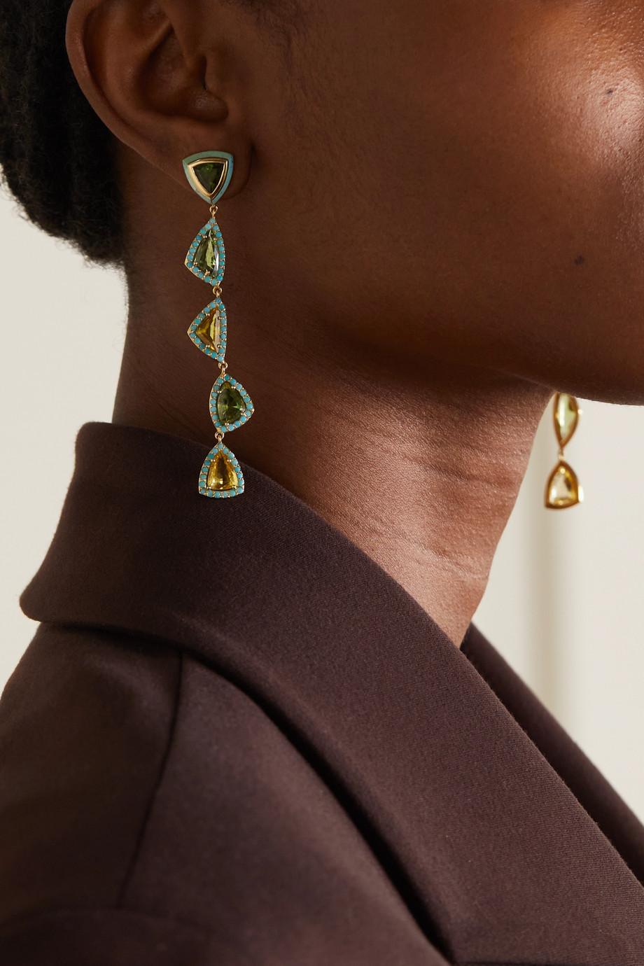 Emily P. Wheeler + NET SUSTAIN Moss Ohrringe aus recyceltem 18 Karat Gold mit mehreren Steinen
