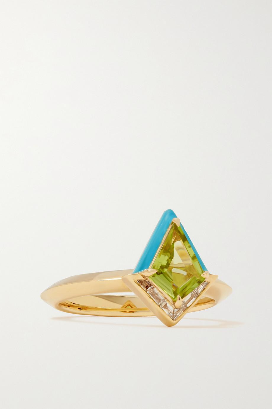 Emily P. Wheeler Bague en or 18 carats (750/1000) recyclé, émail, diamants et péridot Twinkle - NET SUSTAIN