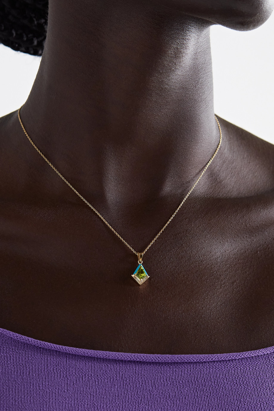 Emily P. Wheeler + NET SUSTAIN Twinkle 18-karat recycled gold, enamel, diamond and peridot necklace
