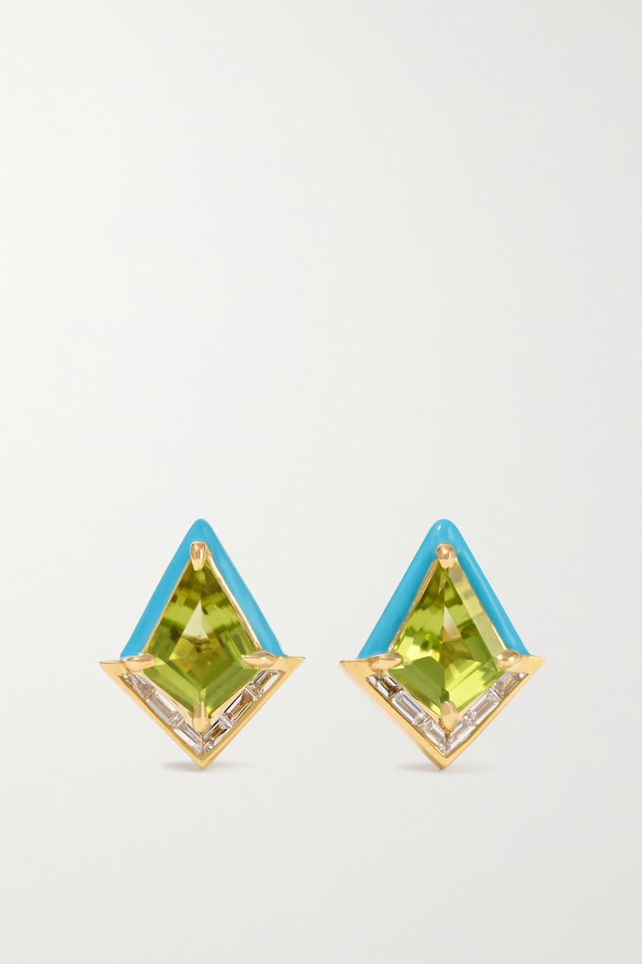 Emily P. Wheeler Boucles d'oreilles en or 18 carats (750/1000) recyclé, émail, péridots et diamants Twinkle - NET SUSTAIN