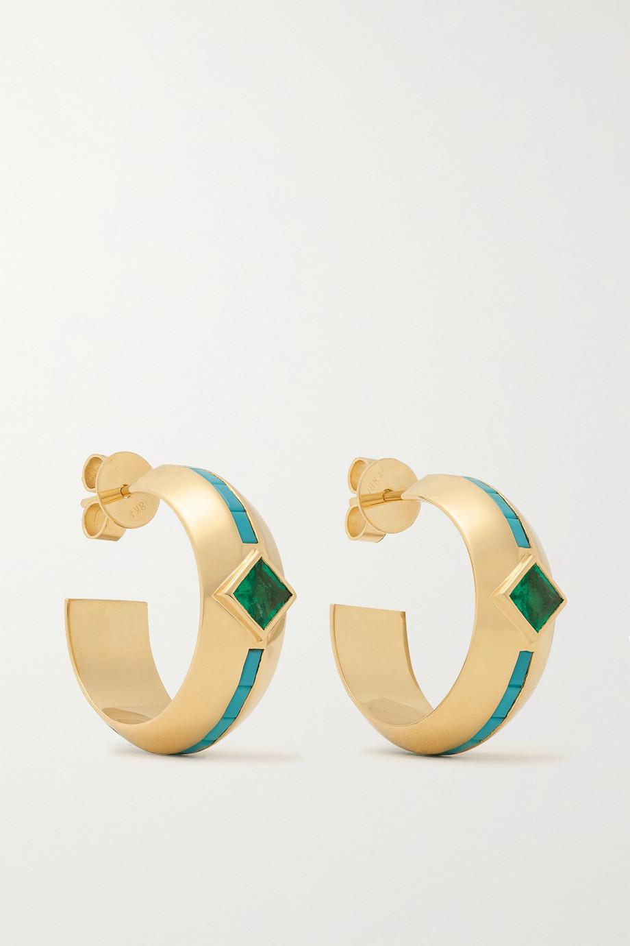Emily P. Wheeler Boucles d'oreilles en or 18 carats (750/1000) recyclé, turquoises et émeraudes Emma - NET SUSTAIN
