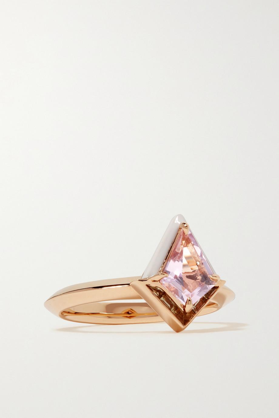 Emily P. Wheeler + NET SUSTAIN Twinkle Ring aus recyceltem 18 Karat Gold mit Emaille, Amethyst und Quarz