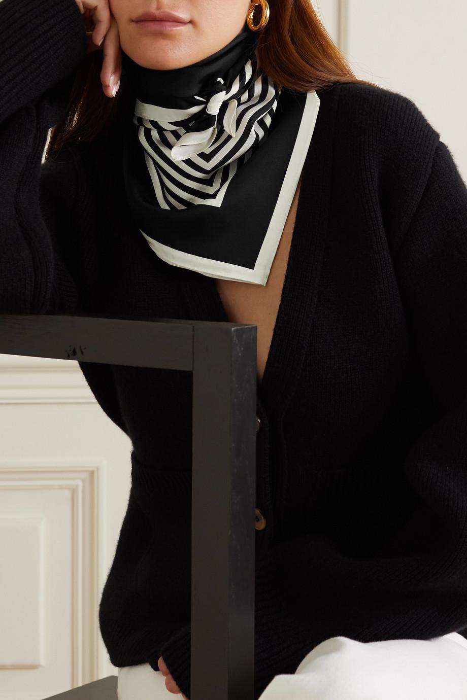 lescarf No. 2 striped silk-twill scarf