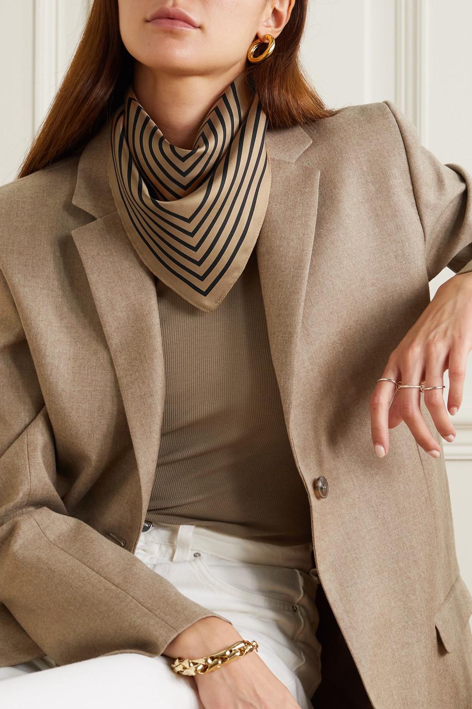 lescarf No. 15 striped silk-twill scarf