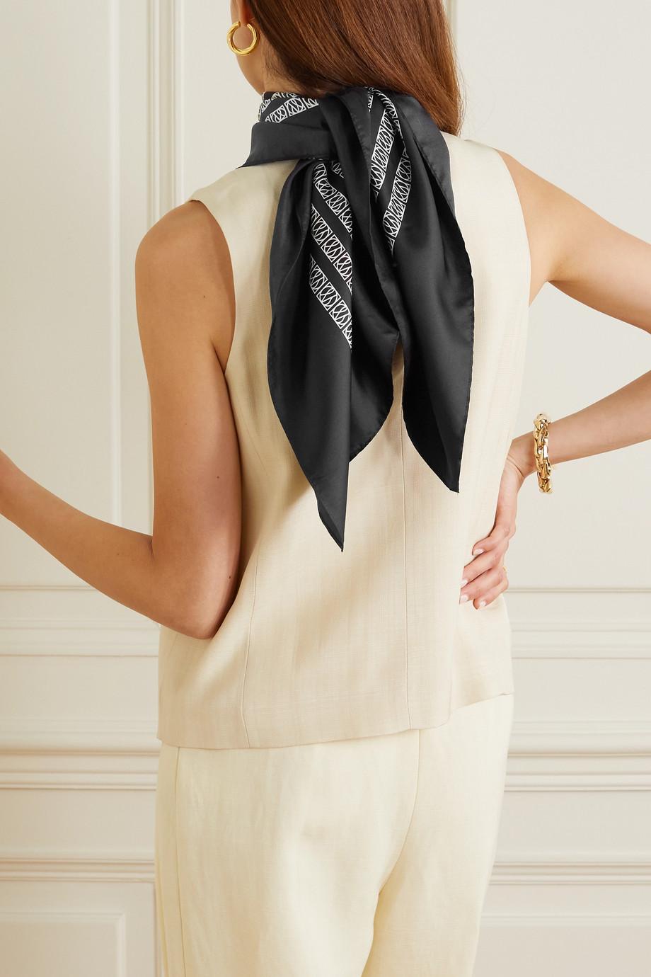 lescarf Printed silk-twill scarf