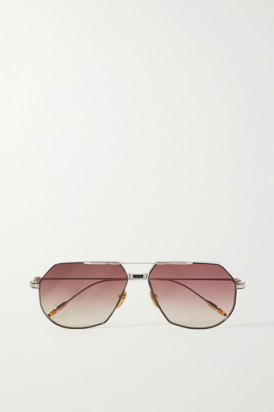 Jacques Marie Mage Reynold aviator-style silver- and gold-tone sunglasses