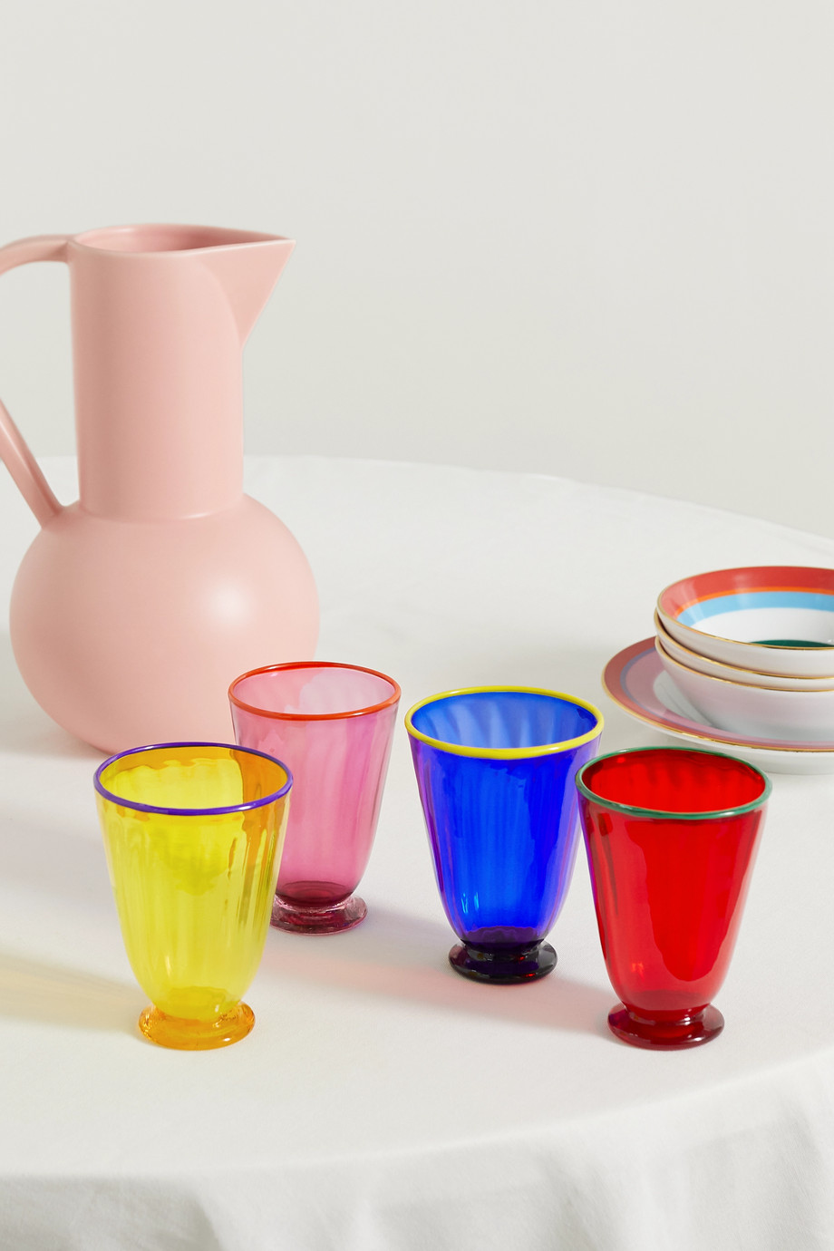 La DoubleJ Set de quatre verres multicolores Rainbow