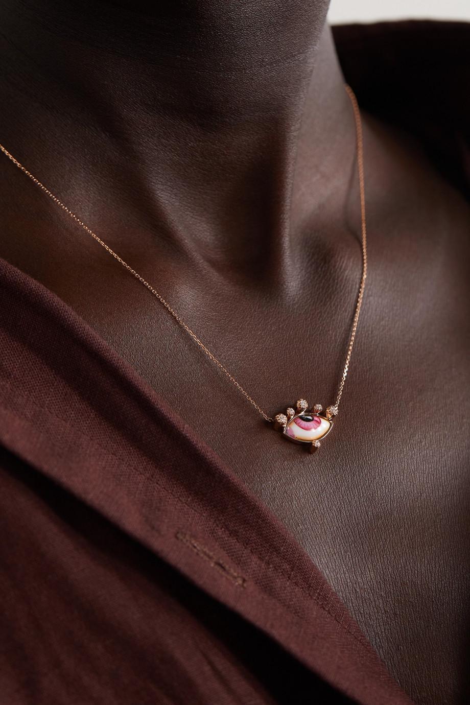 Lito Russe Petite Pink 14-karat rose gold, enamel and diamond necklace
