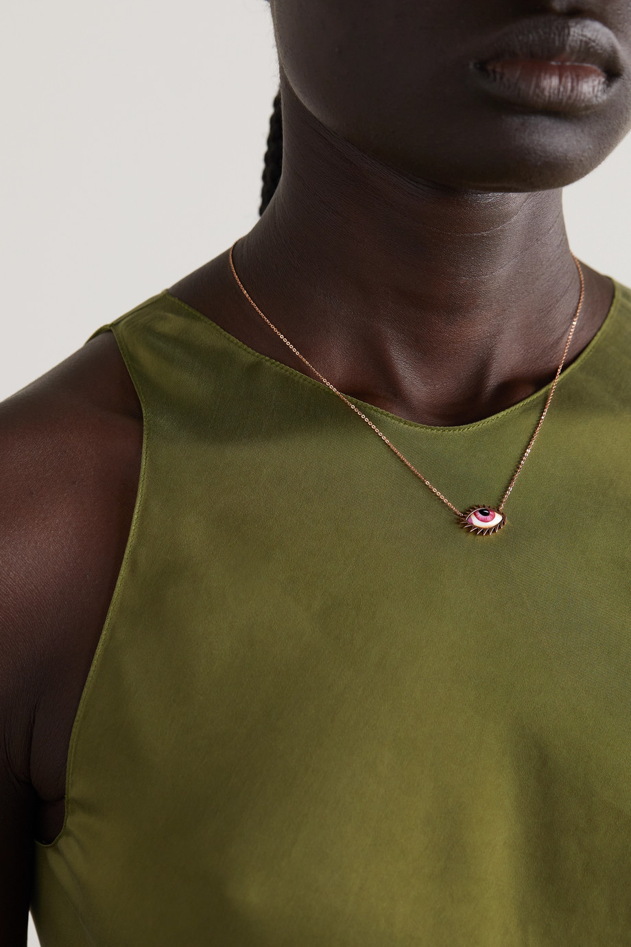 Lito Apollo 13 Petite Pink 14-karat rose gold and enamel necklace