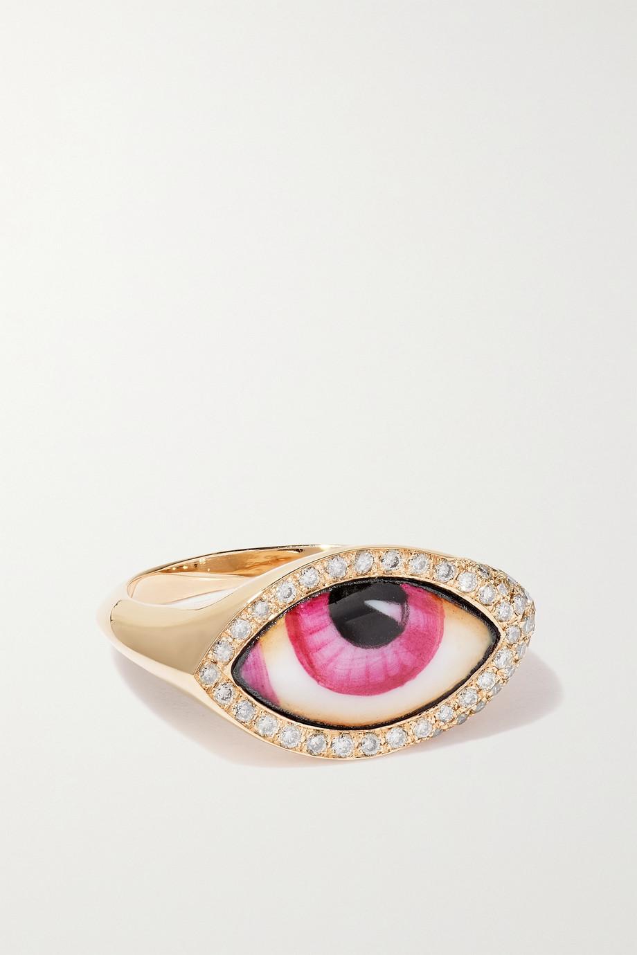 Lito Petite Pink Chevalier 14-karat gold, enamel and diamond ring