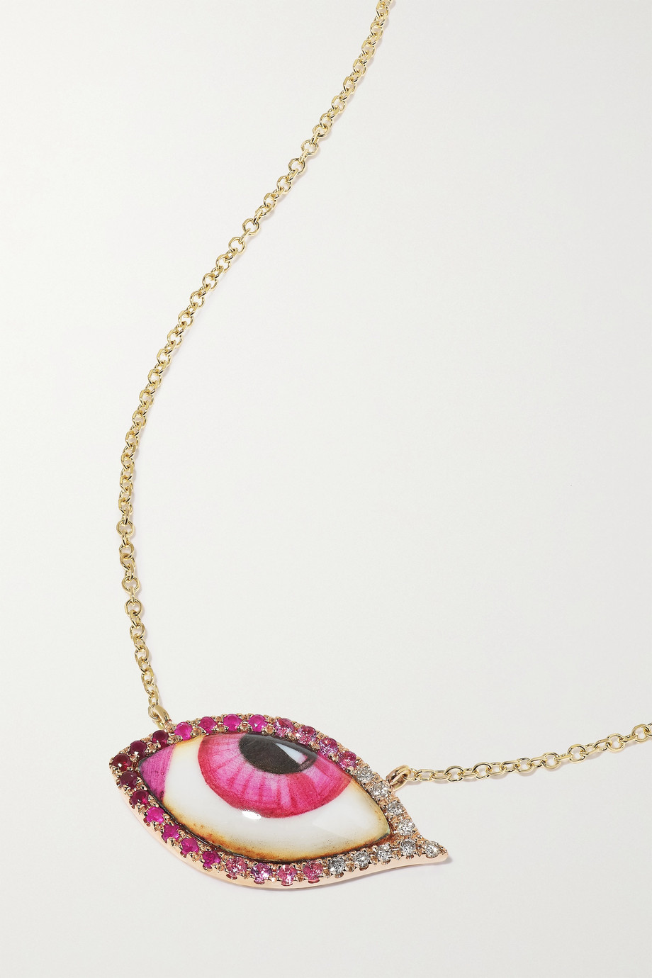 Lito Petite Pink 14-karat gold and rose gold multi-stone necklace