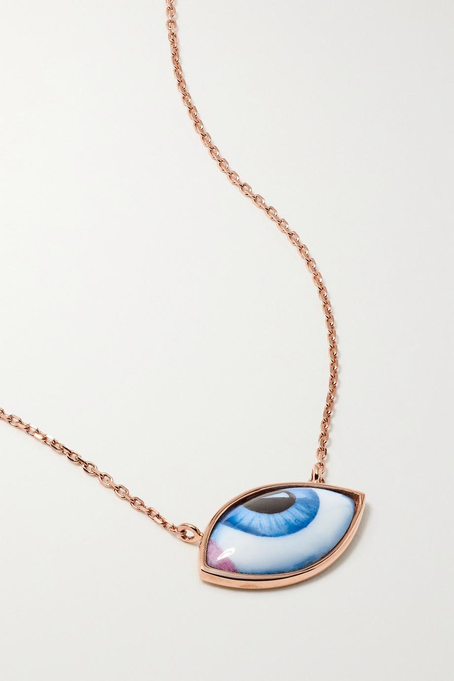 Lito Petit Bleu Kette aus 14 Karat Roségold mit Emaille