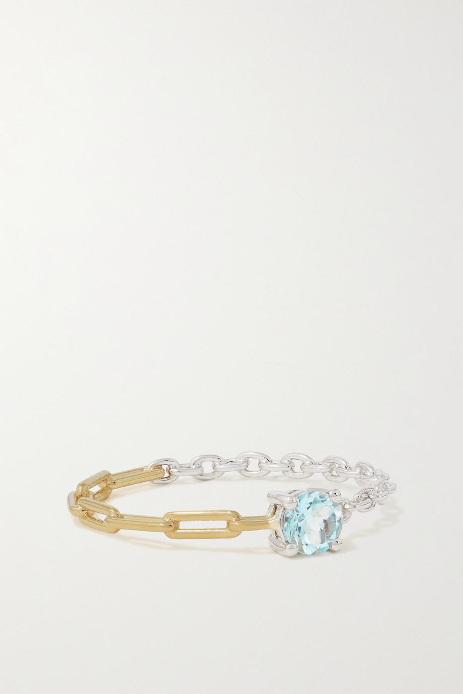 Yvonne Léon 18-karat yellow and white gold aquamarine ring