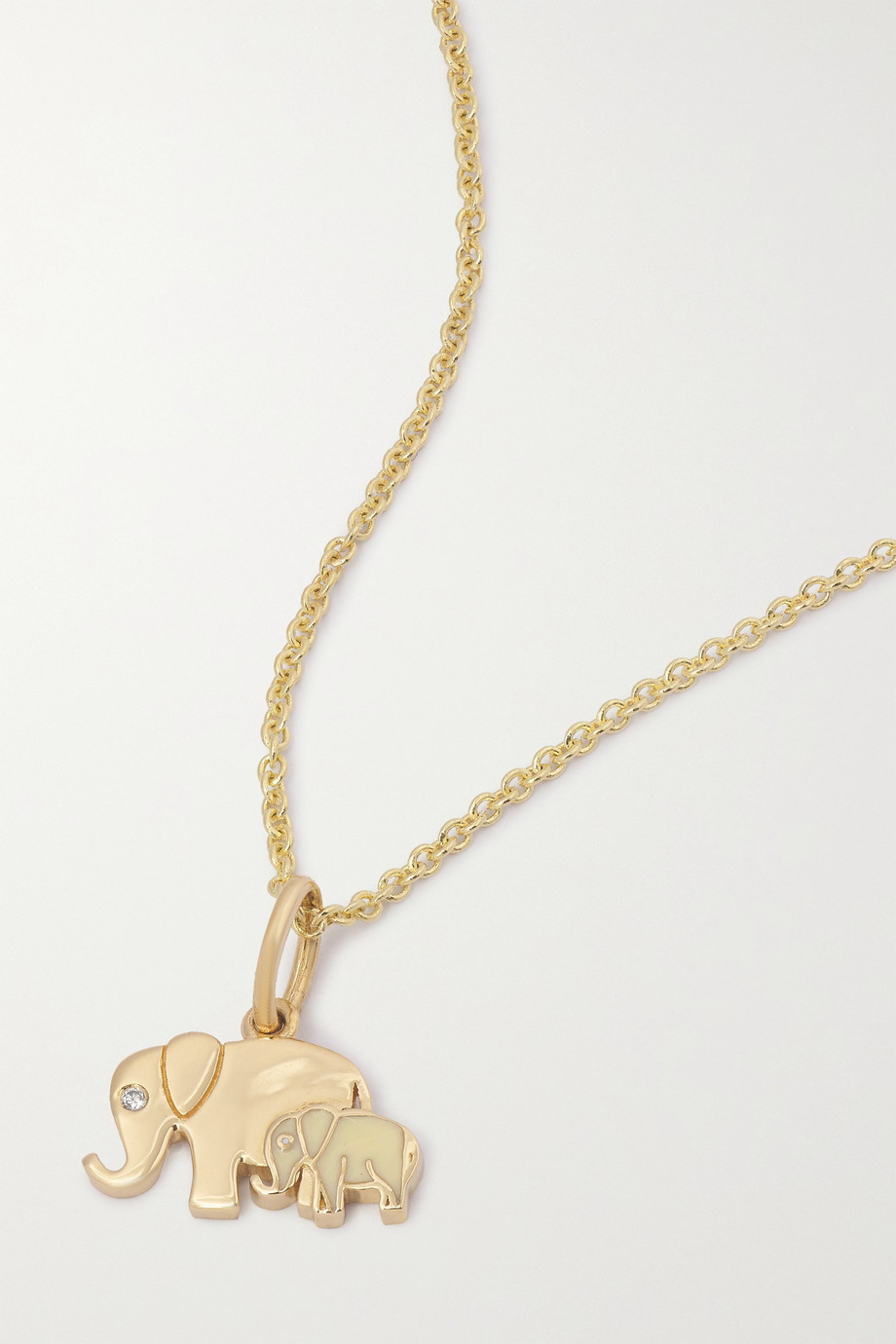 Sydney Evan Elephant Family 14-karat gold, enamel and diamond necklace
