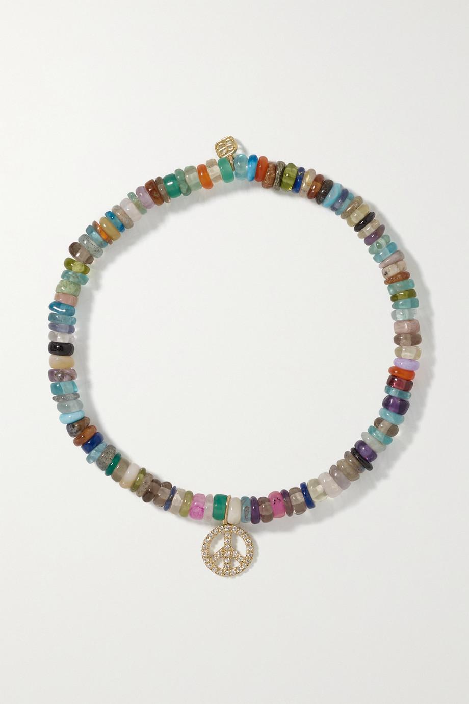 Sydney Evan Mini Peace Sign 14-karat gold, diamond and bead bracelet