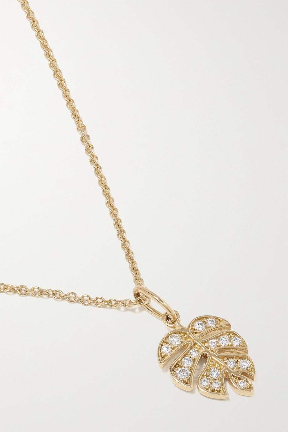 Sydney Evan Small Monstera Leaf Kette aus 14 Karat Gold mit Diamanten